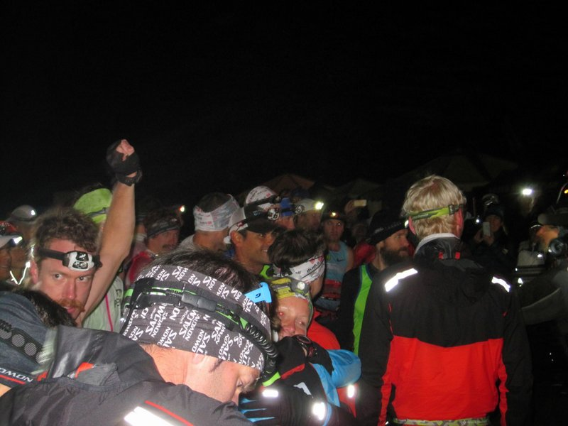 Ultrarunning stars.  Rickey Gates on left, Rob Krar right of center, blocked by the massive Cameron Clayton