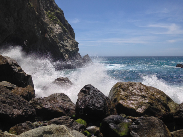 Waves crashing into the rocks - at the end of a cheeky little trail Al found on the way back - near Big Sur