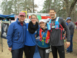 Anne, Joel, Lauren and Kyle. Lauren's first 100. And what a great crew she had.